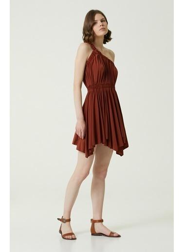 NetWork Kadın 1078668 Slim Fit Asimetrik Kesim Mini Elbise Oranj